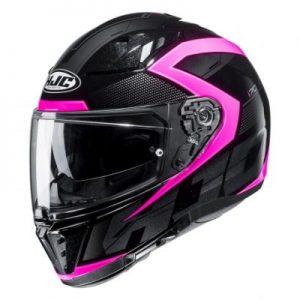 hjc i70 asto black pink motorcycle crash helmet side view