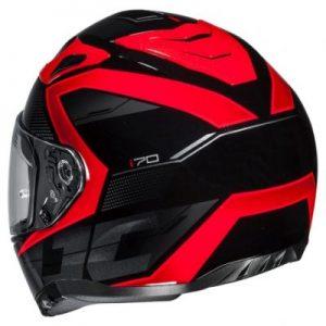 hjc i70 asto black red motorcycle crash helmet rear view