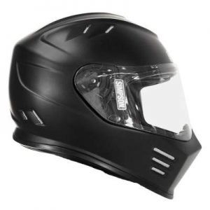 simpson ghost bandit solid matt black crash helmet side view