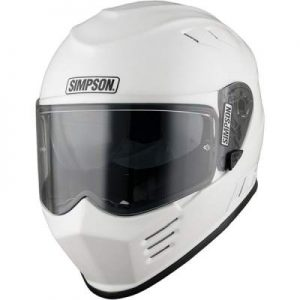 simpson venom gloss white motorcycle crash helmet front view