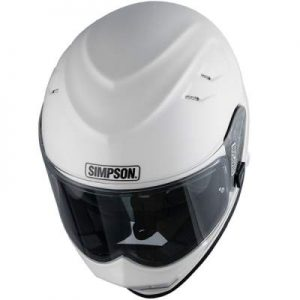 simpson venom gloss white motorcycle crash helmet top down view
