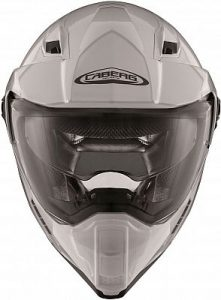 white caberg x-trace dual sport helmet front view
