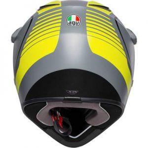 AGV AX9 pacific road fluo grey yellow crash helmet rear