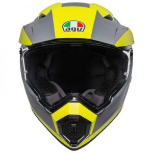 AGV AX9 pacific road yellow crash helmet front