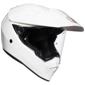 AGV AX9 solid white crash helmet side view