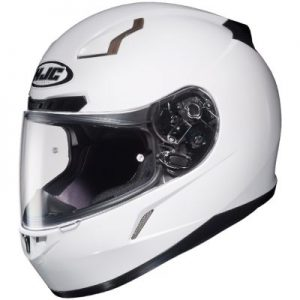 HJC CL17 solid gloss white crash helmet side view