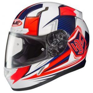 HJC CL17 striker red white blue helmet side view
