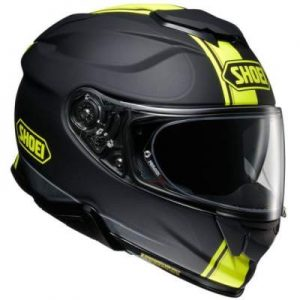 Shoei GT Air II 2 Cross bar neo yellow motorbike helmet side view
