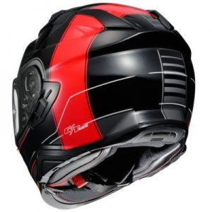 Shoei GT Air II 2 Cross bar red black crash helmet rear view