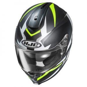 HJC-C70-troky-black-hi-viz-motorcycle-helmet-top-down-view