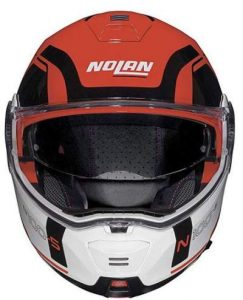 Nolan N100-5 consistency corsa red motorcycle helmet front view