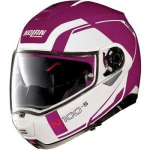 Nolan N100-5 consistency fuschia kiss motorcycle helmet side view