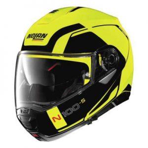 Nolan N100-5 consistency hi viz modular helmet front view