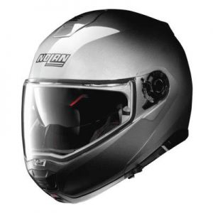 Nolan N100-5 fade silver hi viz modular helmet front view