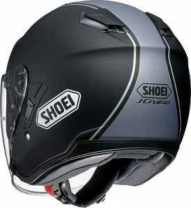 Shoei J-Cruise Corso black open face motorbike helmet rear view