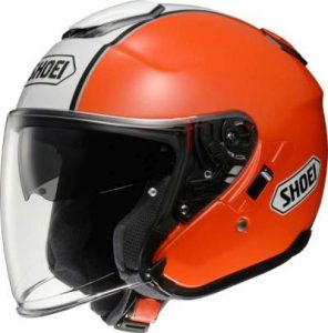 Shoei J-Cruise Corso orange open face motorbike helmet side view