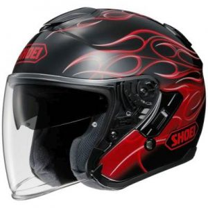Shoei J-Cruise Reborn red open face motorbike helmet side view