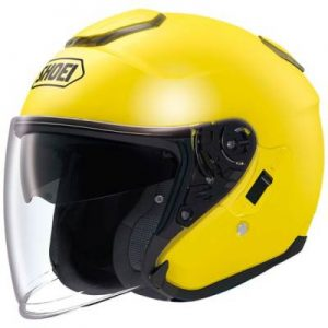 Shoei J-Cruise plain brilliant yellow open face crash helmet side view