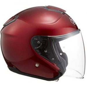 Shoei J-Cruise solid wine red open face crash helmet side view