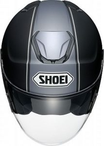 grey Shoei J-Cruise Corso black open face motorbike helmet top view