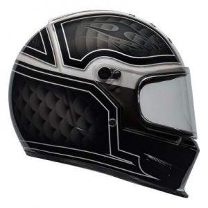 Bell eliminator outlaw motorbike helmet black white side view