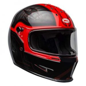 Bell eliminator outlaw motorbike helmet red black front view