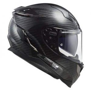 LS2 Challenger carbon fibre motorcycle helmet side view