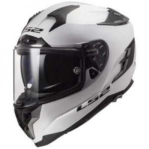 LS2 Challenger motorcycle helmet gloss white side view