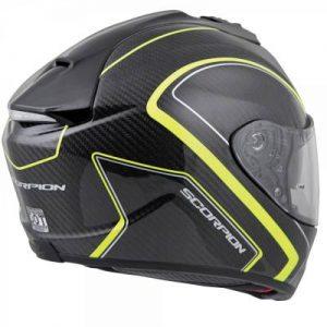 Scorpion exo-st1400 hi viz yellow antrim carbon helmet side rear view