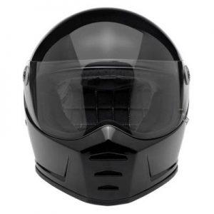 biltwell lane splitter flat black motorcycle helmet front view