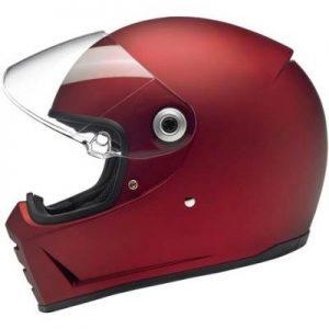 biltwell lane splitter flat red retro motorcycle helmet side view