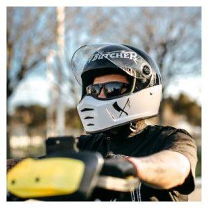 biltwell lane splitter rusty butcher helmet worn