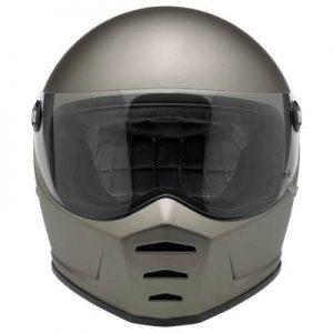 biltwell lane splitter silver metallic motorcycle helmet front view