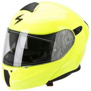 scorpion exo 920 motorcycle helmet neon yellow side view