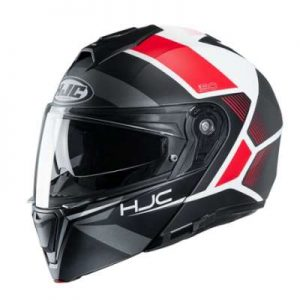 HJC I90 Hollen black red motorcycle helmet side view