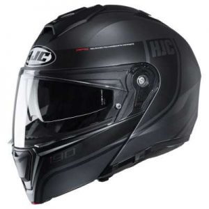 HJC I90 davan matt black crash helmet side view