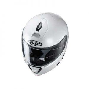 HJC I90 gloss white crash helmet top view