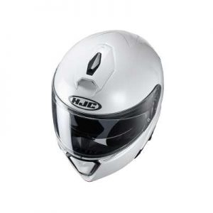 HJC I90 gloss white crash helmet top view