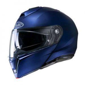 HJC I90 semi flat blue crash helmet side view