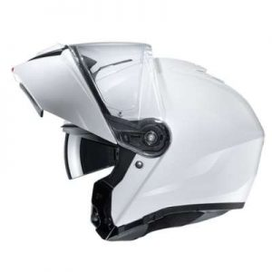 HJC I90 solid gloss white modular helmet side view