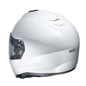 HJC I90 white modular crash helmet rear view