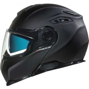 Nexx X.Vilitur matt black flip front motorbike helmet side view