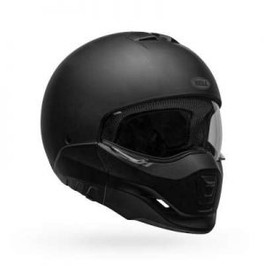 bell broozer matt black modular motorcycle helmet front view