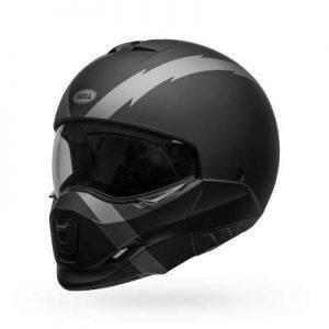 bell broozer modular motorcycle helmet arc matte black front view