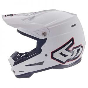 6D ATR-2 solid white motocross motorcycle helmet side view
