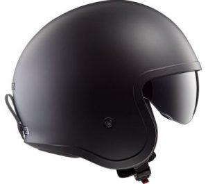 LS2 Spitfire crash helmet matt black side view
