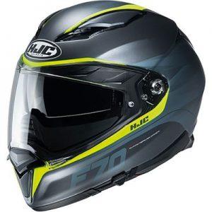 hjc f70 feron fluo yellow motorcycle crash helmet side view