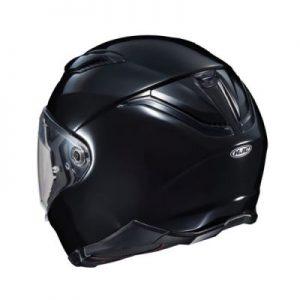 hjc f70 gloss black full face helmet rear view