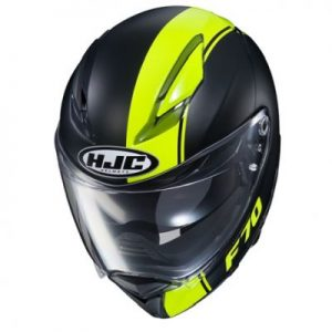 hjc f70 mago black hi viz full face helmet top view