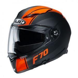 hjc f70 mago orange black motorbike helmet side view